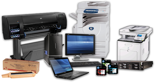 Collage of plotters, servers, notebooks, desktops, printer maintenance kits, workcenter multifunctions, toner,  and ink cartridges from HP, Canon, Xerox, Lenovo, and other brands that Tower supplies or services.